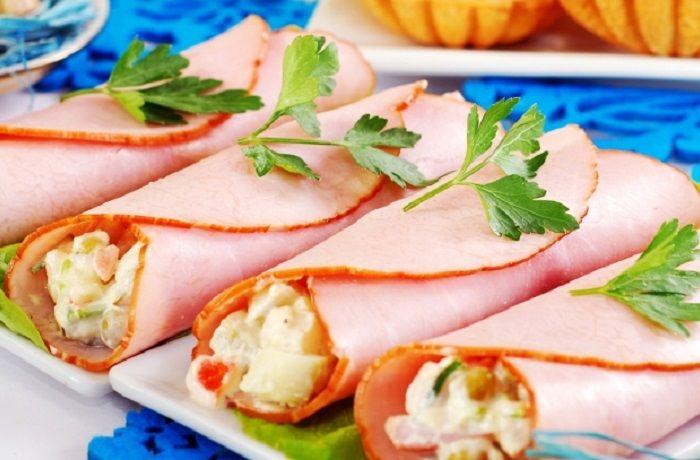Receta de rollitos de jamón rellenos